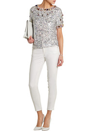 Embellished sequined silk-georgette top