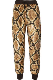 Sequined silk-georgette track pants