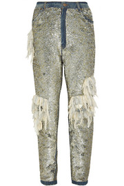 Ashish Sequined distressed high-rise boyfriend jeans
