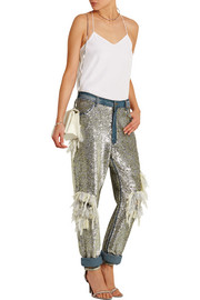 Sequined distressed high-rise boyfriend jeans