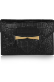 Croc-effect leather envelope clutch