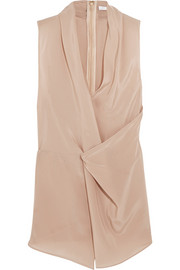 Draped wrap-effect silk-satin top