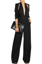 Caped wool jumpsuit