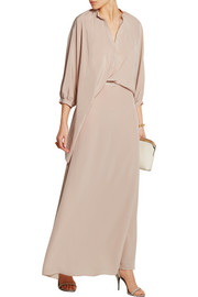 Wave draped silk-crepe maxi dress