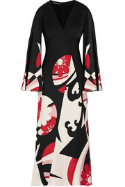 Kansai Kite printed silk-satin gown