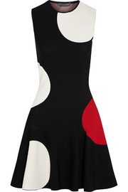 Alexander McQueen Polka-dot intarsia stretch-knit mini dress