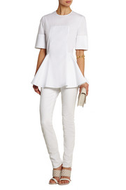 Alexander McQueen Cotton-poplin and piqué peplum top