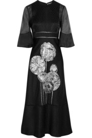 Silk organza-paneled floral-jacquard midi dress