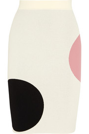 Alexander McQueen Polka dot-intarsia stretch-knit pencil skirt