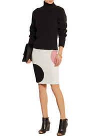 Polka dot-intarsia stretch-knit pencil skirt