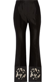 Jacquard-trimmed woven flared pants