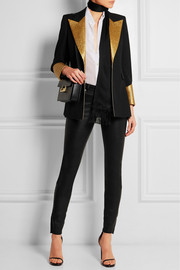 Saint Laurent Metallic leather-paneled wool tuxedo blazer
