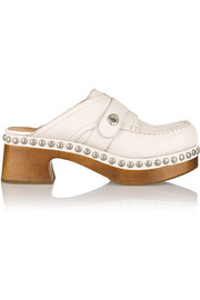 Studded textured-leather clogs
