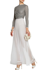 Cotton and pleated chiffon gown
