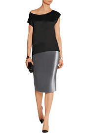 Plissé-lamé pencil skirt