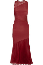 Plissé-crepe de chine midi dress