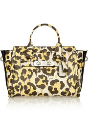 Le Fauve Swagger leopard-print textured-leather tote