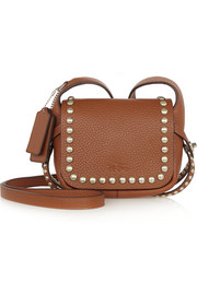 Dakotah studded textured-leather shoulder bag