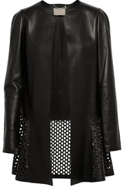 Peony laser-cut leather coat