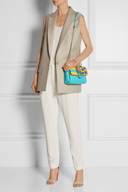 Carine embellished elaphe and leather shoulder bag