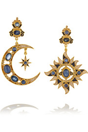 Percossi Papi Gold-plated sapphire, kyanite and pearl earrings