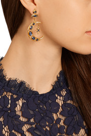 Gold-plated sapphire, kyanite and pearl earrings