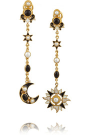 Sun and Moon gold-plated, onyx and pearl earrings