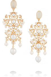 Gold-plated, moonstone and pearl earrings