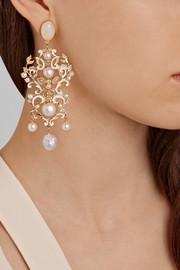 Percossi Papi Gold-plated, moonstone and pearl earrings
