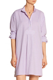 The Sleep Shirt Checked brushed-cotton short nightshirt