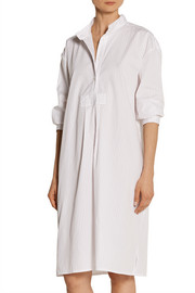The Sleep Shirt Long striped cotton-poplin nightdress