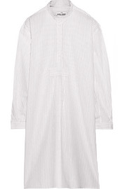 Long striped cotton-poplin nightdress