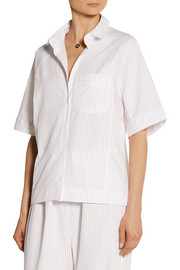 The Sleep Shirt Raglan striped cotton-poplin pajama shirt