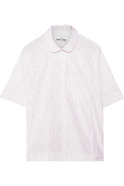 Raglan striped cotton-poplin pajama shirt