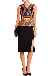Peter Pilotto Hendrix twill and crepe peplum top