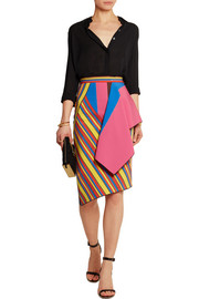 Hendrix draped twill and crepe skirt