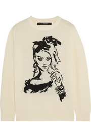 Fan Art intarsia merino wool sweater
