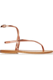 Delta metallic leather sandals