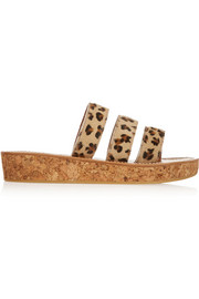 Cernay leopard-print calf hair sandals