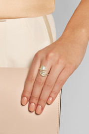 Leaf 18-karat gold diamond ring