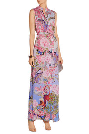 Tinld printed silk-twill maxi dress