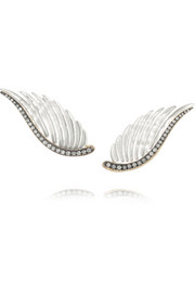 Wing 18-karat gold, mother-of-pearl and diamond earrings