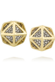 Octahedron Cage 18-karat gold diamond earrings