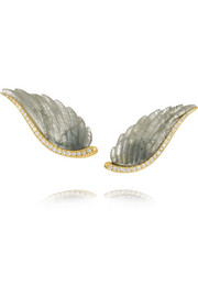 Wing 18-karat gold, labradorite and diamond earrings