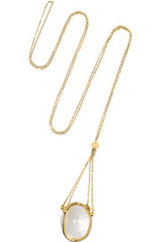 Quadriluna 18-karat gold, quartz rock crystal and diamond necklace
