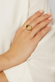 Hex Seal 18-karat gold diamond ring