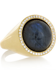 Aurora 18-karat gold, labradorite and diamond ring