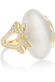 Amoré 18-karat gold, moonstone and diamond ring