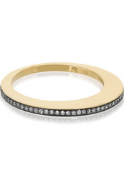 Crescent Moon 18-karat gold diamond ring