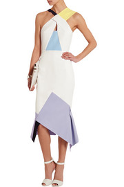 Catton paneled stretch-crepe dress